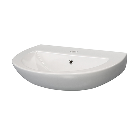 Anzio Round Ceramic Wall Hung Cloakroom Basin (455mm Wide - 1 Tap Hole)