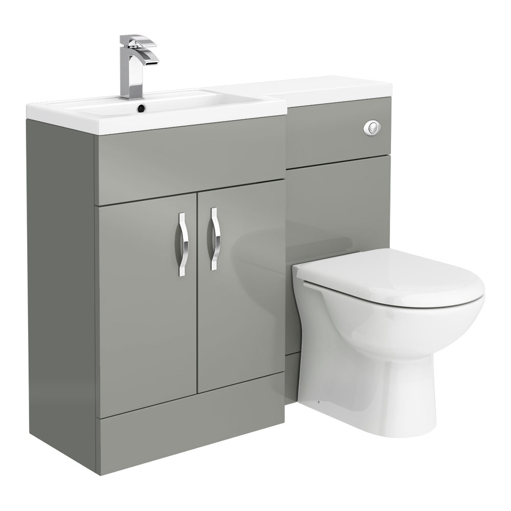 Apollo2 1100mm Gloss Grey Combination Furniture Pack (Excludes Pan + Cistern) - Close up image of modern gloss grey combination bathroom furniture