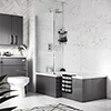 Apollo2 Shower Bath - 1700mm L Shaped with Screen + Gloss Grey Panel profile small image view 1