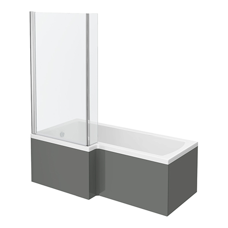 Apollo2 Shower Bath - 1700mm L Shaped with Screen + Gloss Grey Panel