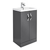 Apollo2 505mm Gloss Grey Floor Standing Vanity Unit profile small image view 1