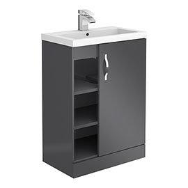 Apollo2 605mm Gloss Grey Open Shelf Floor Standing Vanity Unit