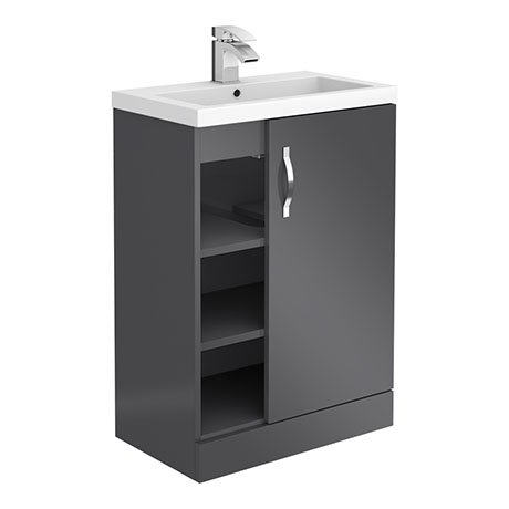 Apollo2 605mm Gloss Grey Open Shelf Floor Standing Vanity Unit