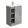 Apollo2 605mm Gloss Grey Open Shelf Floor Standing Vanity Unit profile small image view 1