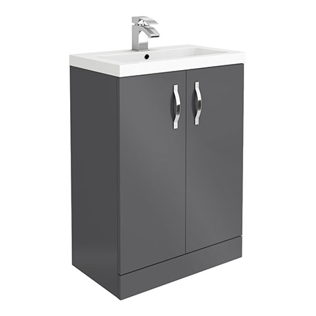 Apollo2 605mm Gloss Grey Floor Standing Vanity Unit
