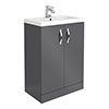 Apollo2 605mm Gloss Grey Floor Standing Vanity Unit profile small image view 1