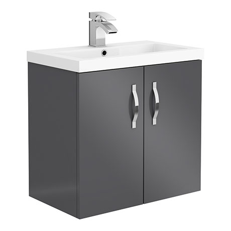 Apollo2 605mm Gloss Grey Wall Hung Vanity Unit