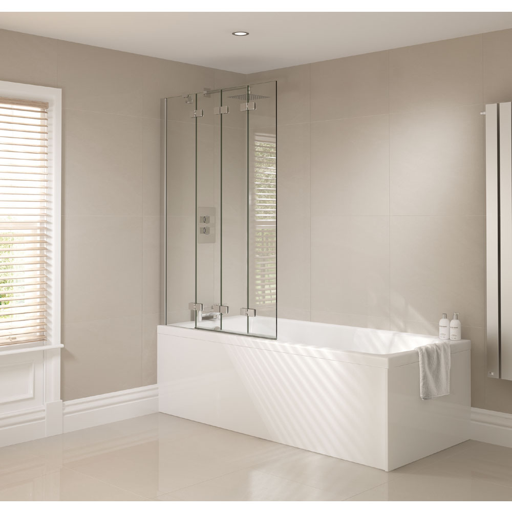 April - Frameless 4 Fold Bath Screen - Left or Right Hand Option Profile Large Image