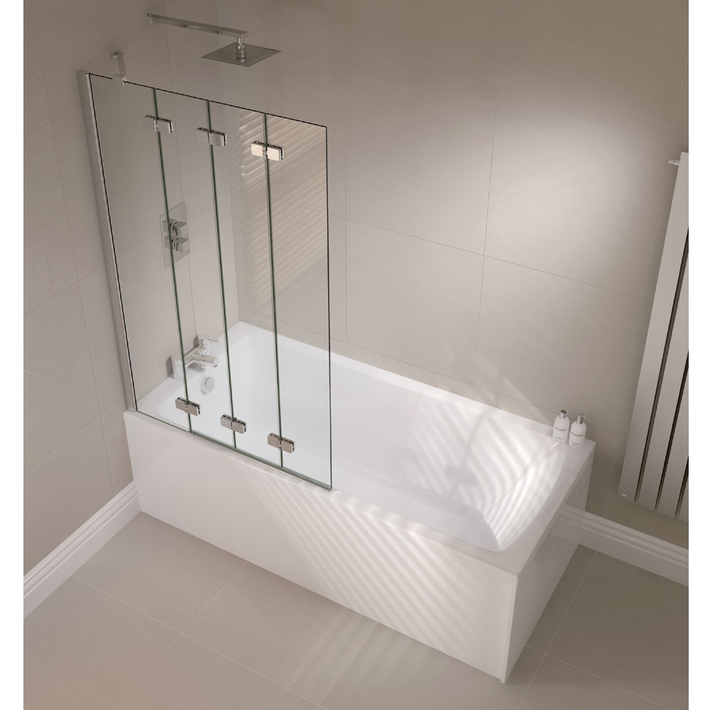 April - Frameless 4 Fold Bath Screen - Left or Right Hand Option Feature Large Image