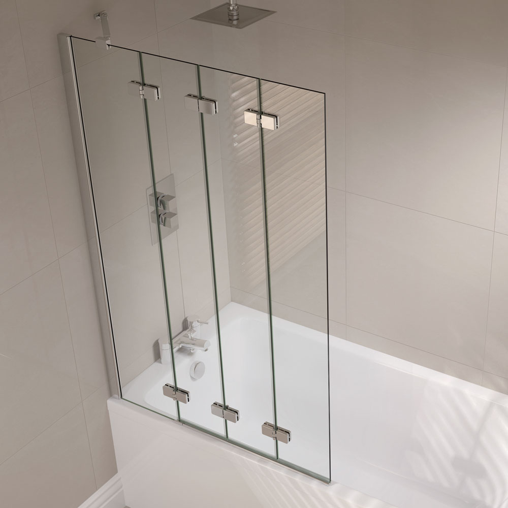 April - Frameless 4 Fold Bath Screen - Left or Right Hand Option Large Image