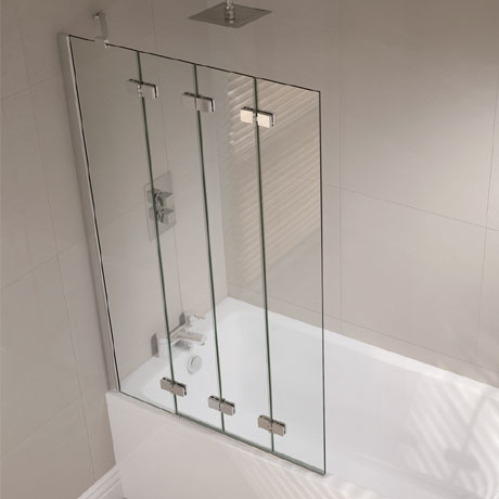 April - Frameless 4 Fold Bath Screen - Left or Right Hand Option