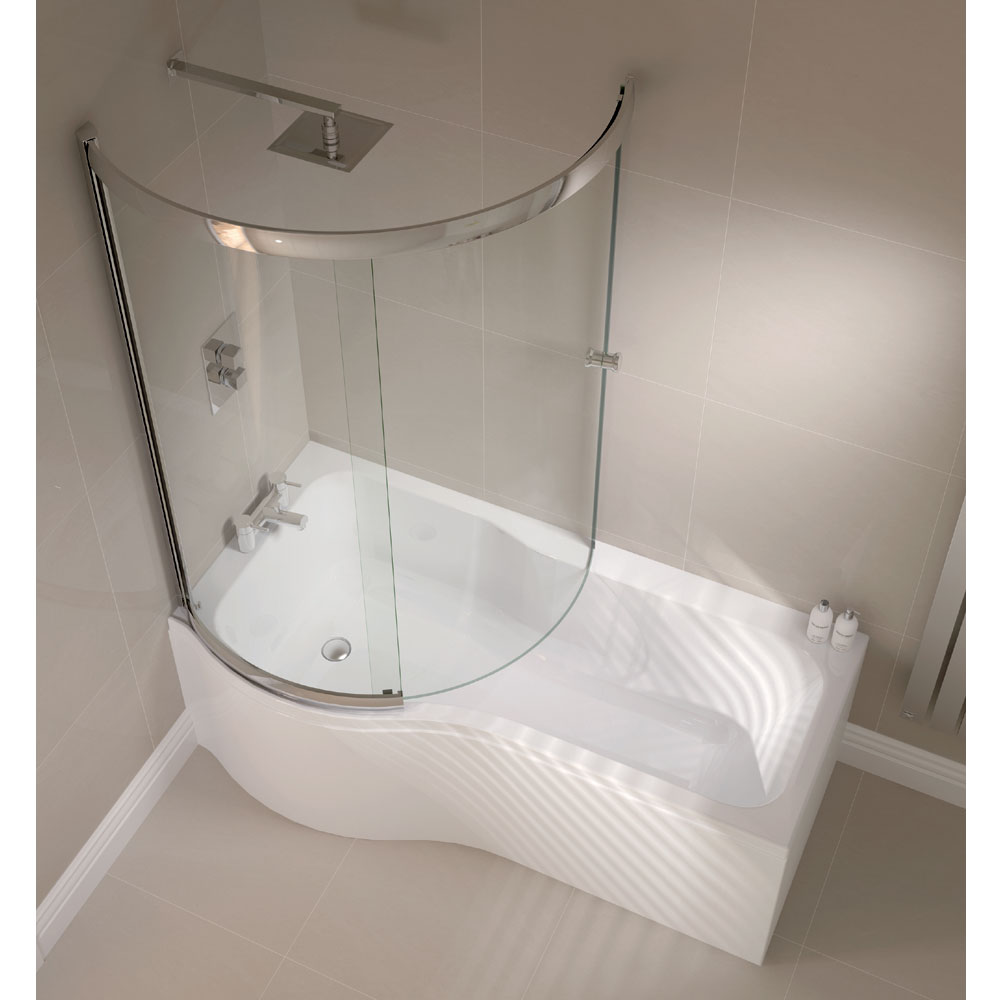 April P Shape Sliding Bath Screen - Left or Right Hand Option profile large image view 2