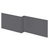 Apollo2 Gloss Grey 1700 Square Shower Bath Front Panel profile small image view 1