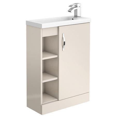 Apollo2 605mm Gloss Cashmere Open Shelf Compact Floor Standing Vanity Unit