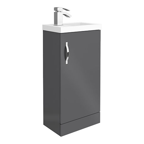 Apollo2 405mm Gloss Grey Compact Floor Standing Vanity Unit