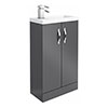 Apollo2 505mm Gloss Grey Compact Floor Standing Vanity Unit profile small image view 1