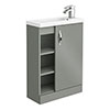 Apollo2 605mm Gloss Grey Open Shelf Compact Floor Standing Vanity Unit profile small image view 1