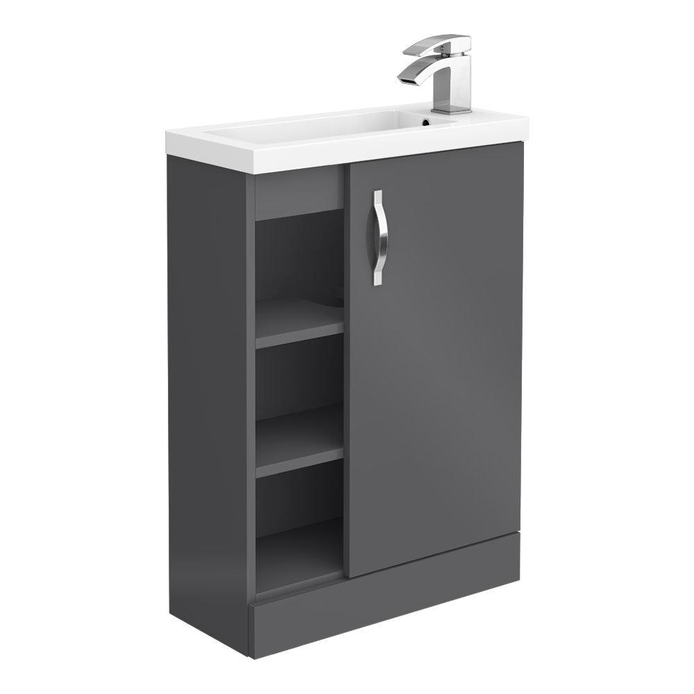 Apollo2 605mm Gloss Grey Open Shelf Compact Floor Standing Vanity Unit