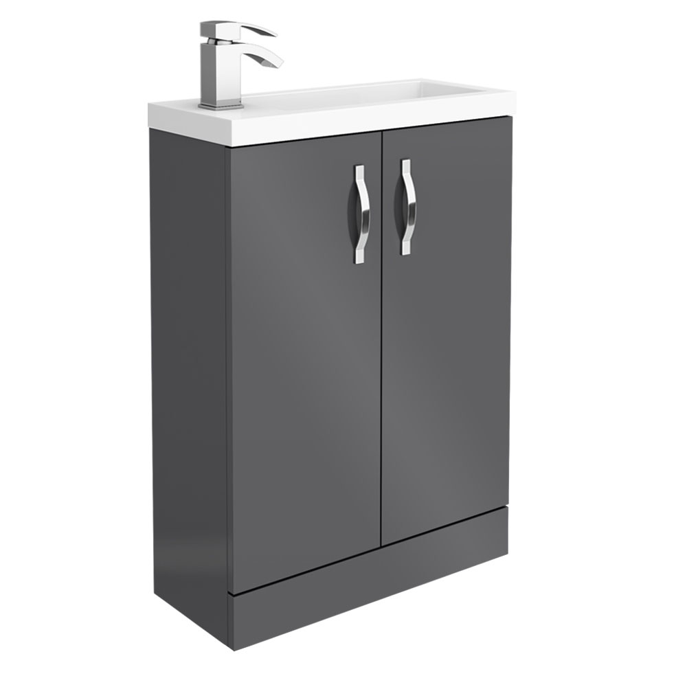 Apollo2 605mm Gloss Grey Compact Floor Standing Vanity Unit