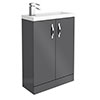 Apollo2 605mm Gloss Grey Compact Floor Standing Vanity Unit profile small image view 1