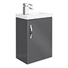 Apollo2 405mm Gloss Grey Compact Wall Hung Vanity Unit profile small image view 1