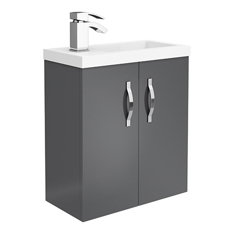 Apollo2 505mm Gloss Grey Compact Wall Hung Vanity Unit