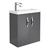 Apollo2 505mm Gloss Grey Compact Wall Hung Vanity Unit profile small image view 1