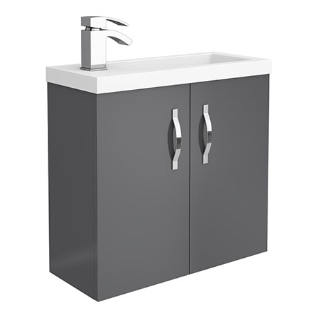 Apollo2 605mm Gloss Grey Compact Wall Hung Vanity Unit