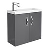 Apollo2 605mm Gloss Grey Compact Wall Hung Vanity Unit profile small image view 1