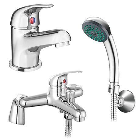 Apollo Contemporary Basin and Bath Shower Mixer Taps - Chrome