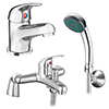 Apollo Contemporary Basin and Bath Shower Mixer Taps - Chrome profile small image view 1