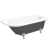 Appleby Grey 1700 Roll Top Shower Bath + Chrome Leg Set profile small image view 1