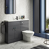 Apollo2 1100mm Gloss Grey Slimline Combination Furniture Pack (Excludes Pan + Cistern) profile small image view 1