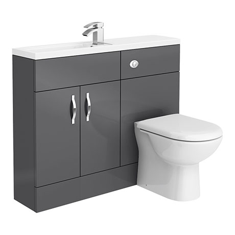 Apollo2 1100mm Gloss Grey Slimline Combination Furniture Pack (Excludes Pan + Cistern)