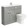 Apollo2 1100mm Gloss Grey Slimline Combination Furniture Pack (Excludes Pan) Small Image