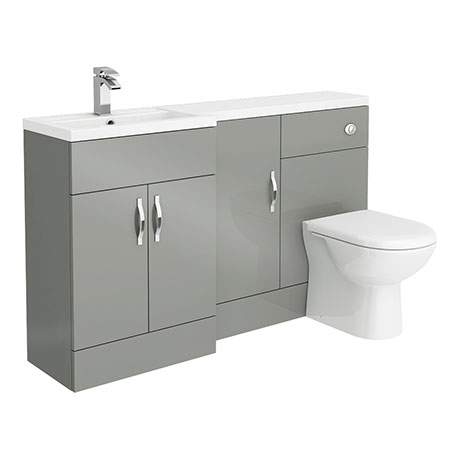 Apollo2 1500mm Gloss Grey Combination Furniture Pack (Excludes Pan + Cistern)