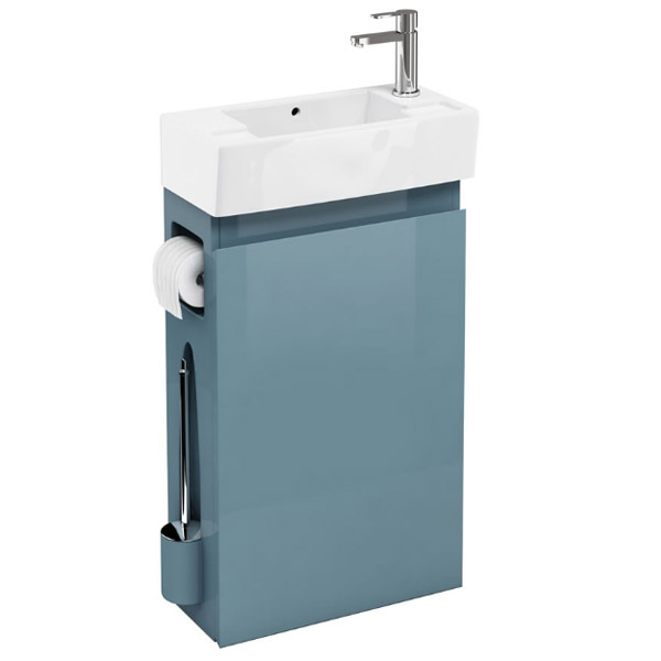 Aqua Cabinets W505 X D252mm Allinone Unit W Basin Brass Wc Brush Toilet Paper Holder