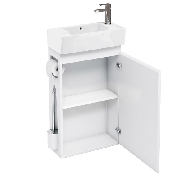 Aqua Cabinets - W505 x D252mm ALLinONE Unit w/ Basin, Brass WC Brush & Toilet Paper Holder - White profile large image view 2