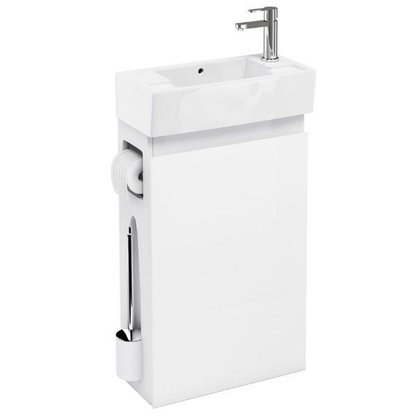 Aqua Cabinets - W505 x D252mm ALLinONE Unit w/ Basin, Brass WC Brush & Toilet Paper Holder - White profile large image view 1