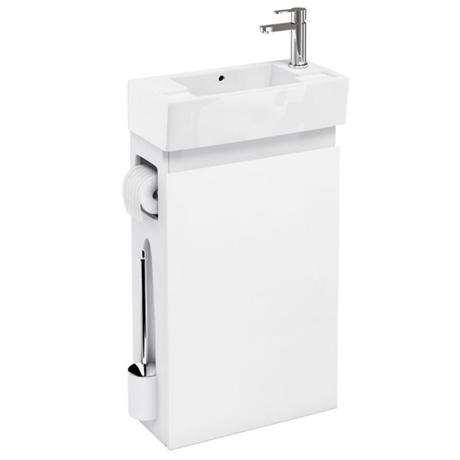 Aqua Cabinets - W505 x D252mm ALLinONE Unit w/ Basin, Brass WC Brush & Toilet Paper Holder - White