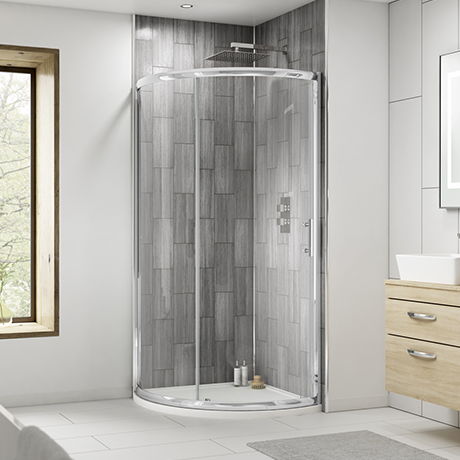 860 x 860mm Pacific Single Entry Quadrant Enclosure Inc. Shower Tray + Waste