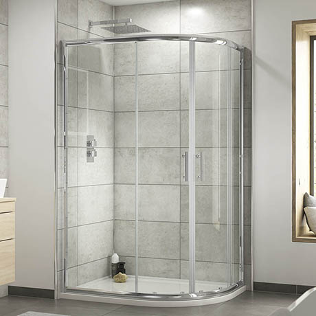 Pacific RH Offset Quadrant Shower Enclosure Inc. Tray + Waste