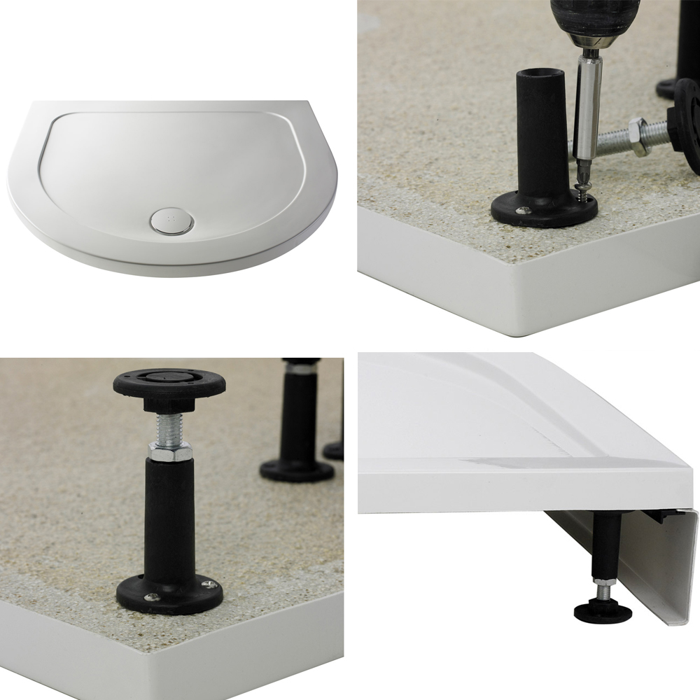 Pacific D-Shape Quadrant Shower Enclosure Inc. Tray, Waste & Easy Pumb Leg Set profile large image view 2