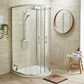 Pacific D-Shape Quadrant Shower Enclosure Inc. Tray, Waste & Easy Pumb Leg Set