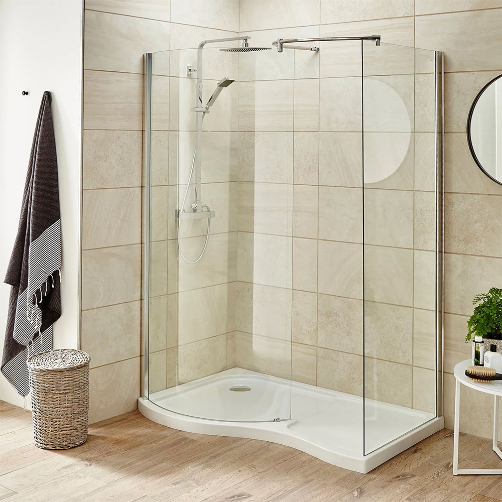 Nuie Pacific Curved Walk In Shower Enclosure (inc. Tray)