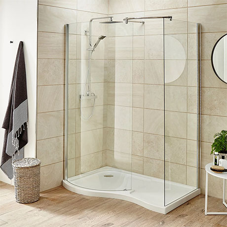 Premier Pacific Curved Walk In Shower Enclosure (Inc. Tray)
