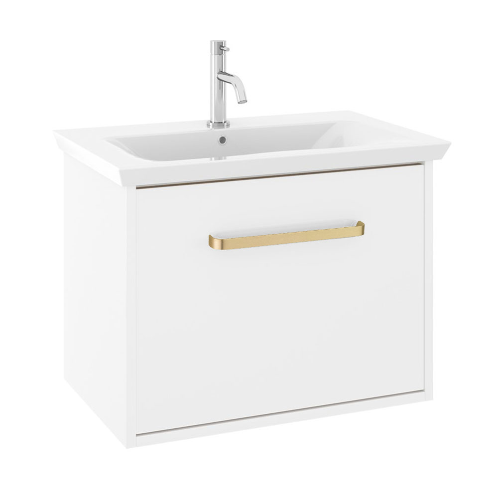 Crosswater Arena 600 Wall Hung Vanity Unit with Brushed Brass Handle - Pure White Gloss