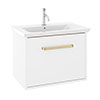 Crosswater Arena 600 Wall Hung Vanity Unit with Brushed Brass Handle - Pure White Gloss profile small image view 1