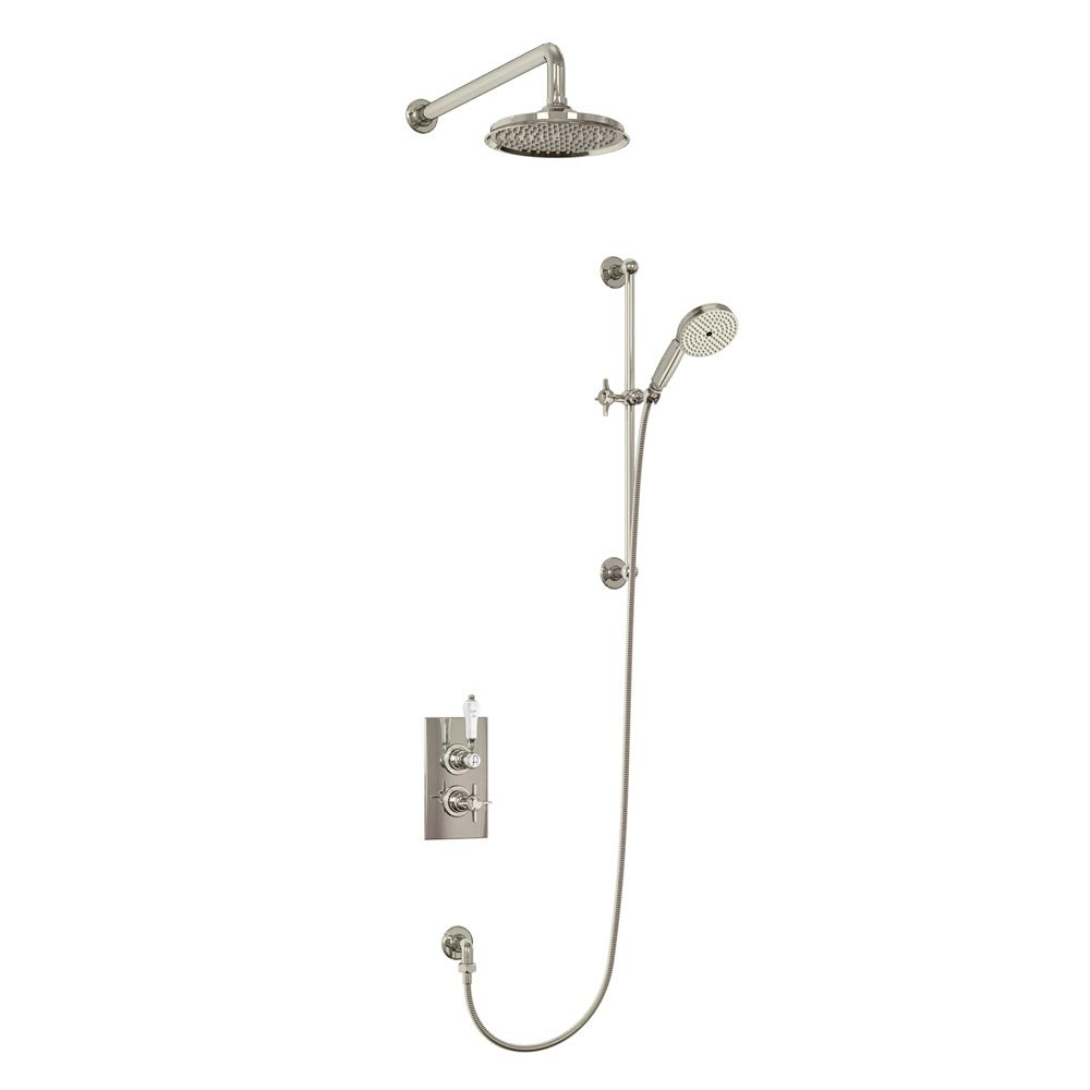 Arcade Thermostatic Two Outlet Concealed Shower Valve, Slide Rail & Kit with Fixed Head - Nickel Large Image