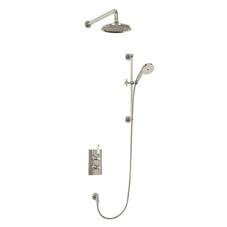 Arcade Thermostatic Two Outlet Concealed Shower Valve, Slide Rail & Kit with Fixed Head - Nickel